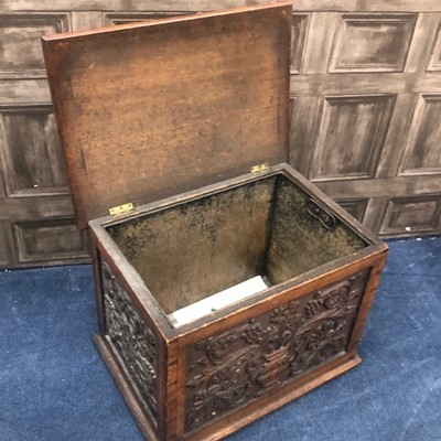 Lot 1 - A 20TH CENTURY CARVED OAK LOG BOX