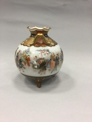 Lot 711 - A PAIR OF JAPANESE SATSUMA VASES AND ANOTHER SATSUMA VASE