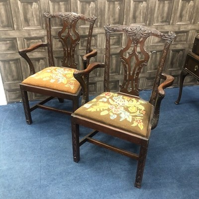 Lot 1321 - A SET OF FOUR MAHOGANY OPEN ELBOW CHAIRS