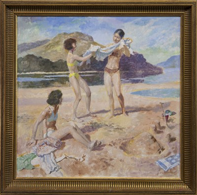 Lot 430 - AT THE BEACH, A SCOTTISH OIL
