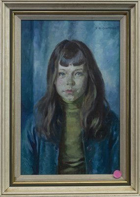 Lot 429 - BLUE PORTRAITS, THREEE OILS BY R G CAMPBELL