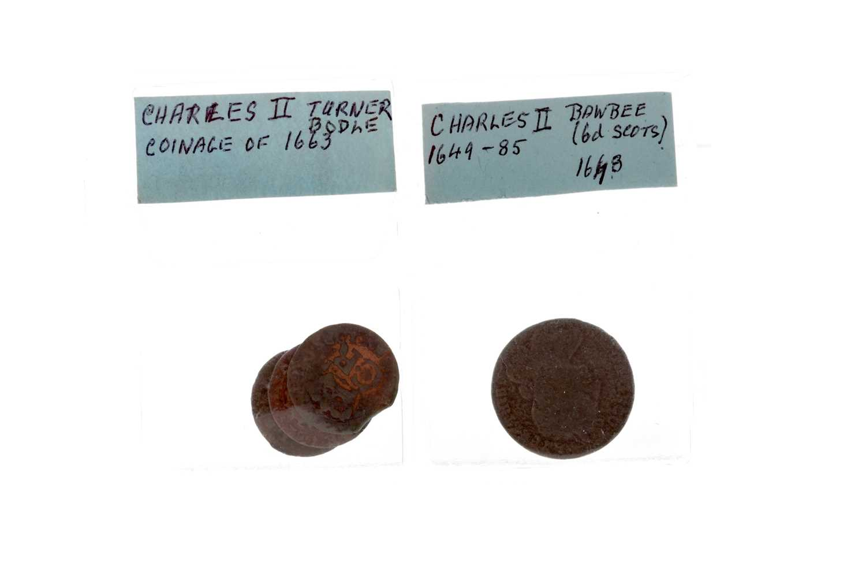 Lot 31 - A CHARLES II BAWBEE AND THREE BODLES