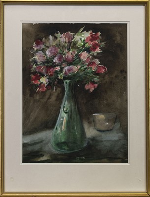 Lot 427 - FLOWERS IN A VASE, A WATERCOLOUR BY MAX WALLACE