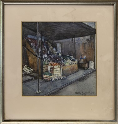 Lot 426 - FRUIT SHOP, A WATERCOLOUR BY CHRIS K WALLACE