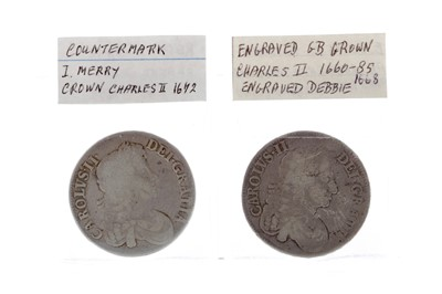 Lot 34 - A CHARLES II COUNTERMARKED CROWN AND ANOTHER