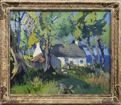 Lot 74 - TENDING THE GARDEN, AN OIL BY VIOLET KAY