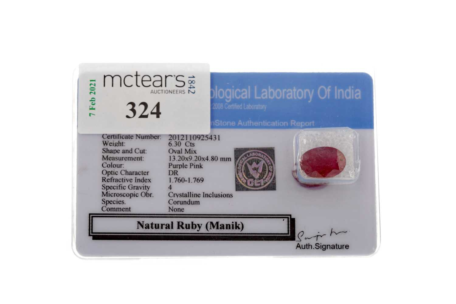 Lot 324 - AN UNMOUNTED RUBY