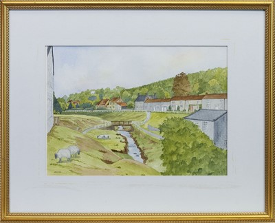Lot 438 - HUTTON-LE HOLE, A WATERCOLOUR BY J BEDFORD