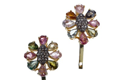 Lot 338 - A PAIR OF GEM SET AND DIAMOND EARRINGS