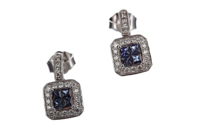 Lot 318 - A PAIR OF SAPPHIRE AND DIAMOND EARRINGS