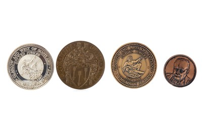 Lot 1312 - A GROUP OF SILVER AND OTHER PRIZE AND COMMEMORATIVE MEDALLIONS