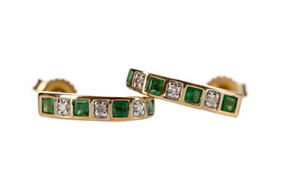Lot 338 - A PAIR OF EMERALD AND DIAMOND EARRINGS