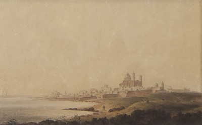 Lot 69 - GENOA FROM THE SHORE, A WATERCOLOUR BY ANDREW WILSON