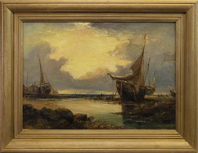 Lot 84 - EAST COAST FISHING BOATS BEACHED, AN OIL ATTRIBUTED TO SAM BOUGH