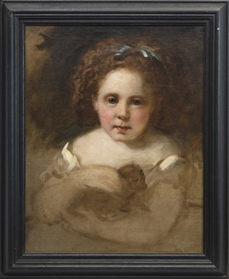 Lot 86 - PORTRAIT OF A GIRL HOLDING A PUPPY, AN OIL ATTRIBUTED TO SIR GEORGE REID