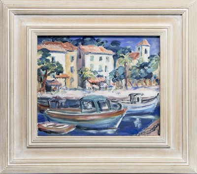 Lot 512 - BOATS AT A CONTINENTAL HARBOUR, AN OIL BY CAROLINE LEBURN