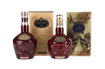 Lot 229 - TWO CHIVAS REGAL ROYAL SALUTE RUBY DECANTERS