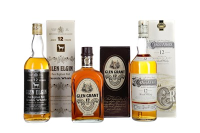 Lot 241 - GLEN GRANT 12 YEARS OLD, GLEN ELGIN AGED 12 YEARS AND CRAGGANMORE 12 YEARS OLD