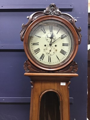 Lot 1716 - A VICTORIAN SCOTTISH WALNUT DRUMHEAD LONCASE CLOCK