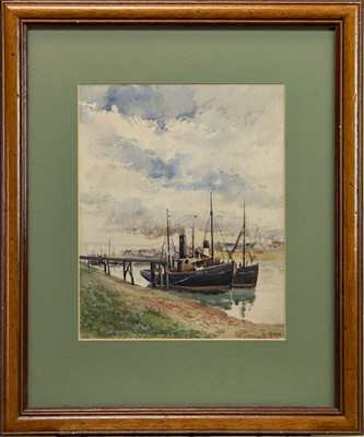 Lot 440 - STEAM TRAWLERS, KIRKCALDY HARBOUR, A WATERCOLOUR BY GEORGE HUME