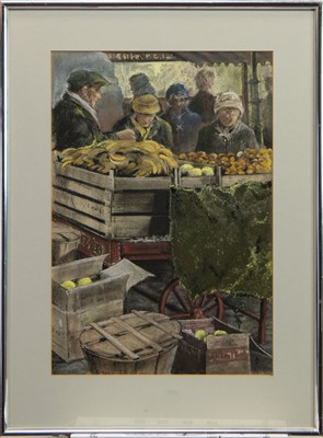 Lot 442 - DUTCH MARKET SCENE, A MIXED MEDIA BY JOHANNES AARTS