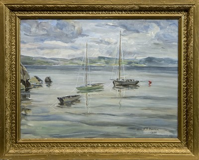 Lot 518 - HIGH TIDE AT CRAMOND, AN OIL BY T G MCGILL DUNCAN