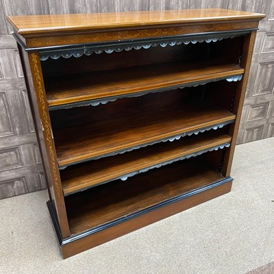 Lot 1322 - A LATE VICTORIAN MAHOGANY AND EBONISED OPEN BOOKCASE