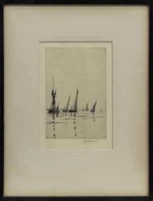 Lot 446 - OFF THE CHAPMAN SANDS, AN ETCHING BY ARTHUR J F BOND