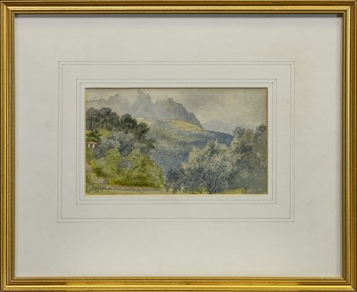 Lot 452 - ASIAN MOUNTAIN LANDSCAPE, A WATERCOLOUR BY SIMPSON