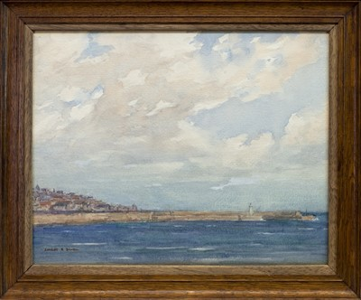Lot 91 - HARBOUR SCENE, A WATERCOLOUR BY CHARLES DOWELL
