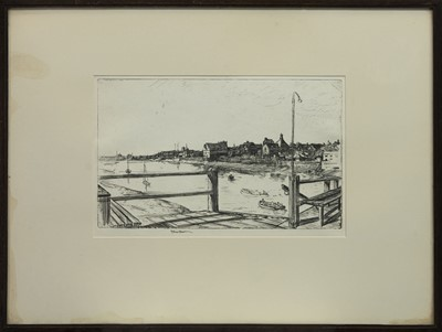 Lot 456 - THE FERRY AT KING'S LYNN, AN ETCHING BY STUART BROWN