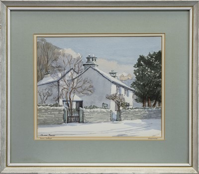 Lot 465 - DOVE COTTAGE, HOME OF WORDSWORTH, A WATERCOLOUR BY MONICA BARRY
