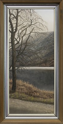 Lot 464 - LONELY TREE AT THE LOCH, AN OIL BY IAN MCNAB