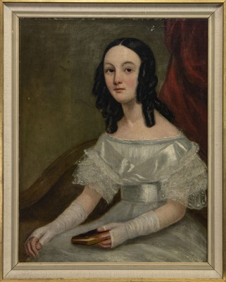 Lot 458 - PORTRAIT OF A GIRL, A 19TH CENTURY OIL