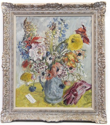 Lot 20A - FLORAL STILL LIFE WITH RED GLOVES, AN OIL BY CATHLEEN MANN