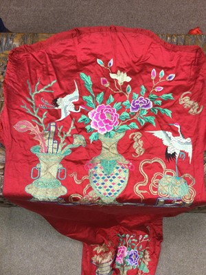 Lot 749 - A 20TH CENTURY CHINESE SILK EMBROIDERED LONG SKIRT AND OTHER TEXTILES