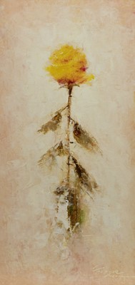 Lot 478 - YELLOW ROSE, AN OIL BY VICTOR BELLE