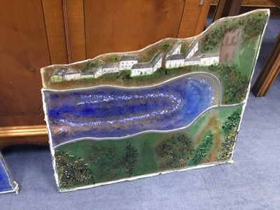 Lot 10 - A STAINED AND LEADED GLASS PANEL AND ANOTHER