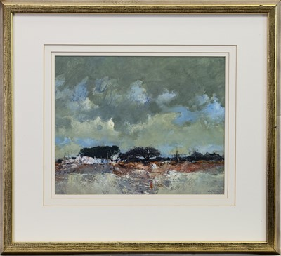 Lot 534 - CLOUDY DAY, STIRLINGSHIRE, AN OIL BY GORDON WYLLIE