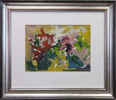 Lot 43 - MIXED FLOWERS, A GOUACHE BY KATIE STEWART BROWN