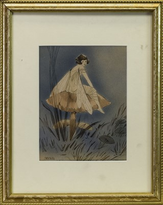 Lot 500 - FAIRY SITTING ON A MUSHROOM, A WATERCOLOUR BY GRACE JONES