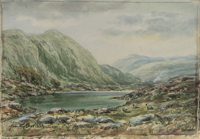 Lot 501 - SHEEP AT THE LOCH, A SCOTTISH WATERCOLOUR