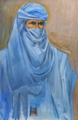 Lot 504 - THE MAN IN BLUE, AN OIL PAINTING