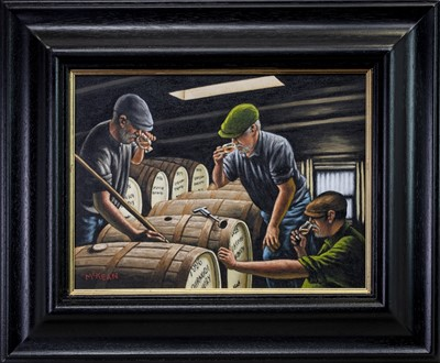 Lot 576 - THE WHISKY NOSERS AND TASTERS, AN OIL BY GRAHAM MCKEAN