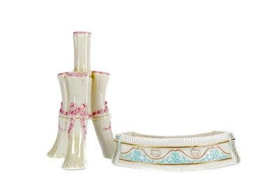 Lot 1025 - A BELLEEK FIRST PERIOD VASE AND ANOTHER