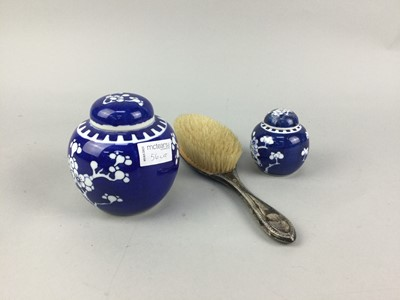 Lot 56 - A SILVER BACKED BRUSH, TWO GINGER JARS AND SILVER PLATED WARE