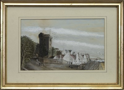 Lot 510 - ST SERF TOWER, DYSART, LOOKING EAST, A MIXED MEDIA BY DAVID PYE
