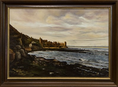 Lot 514 - CASTLE RUINS, ST ANDREWS, AN OIL BY JIM MCGARVA