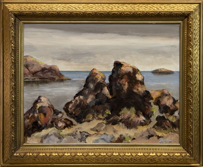 Lot 515 - ST ABBS ROCKS, AN OIL BY FRED LEHMAN