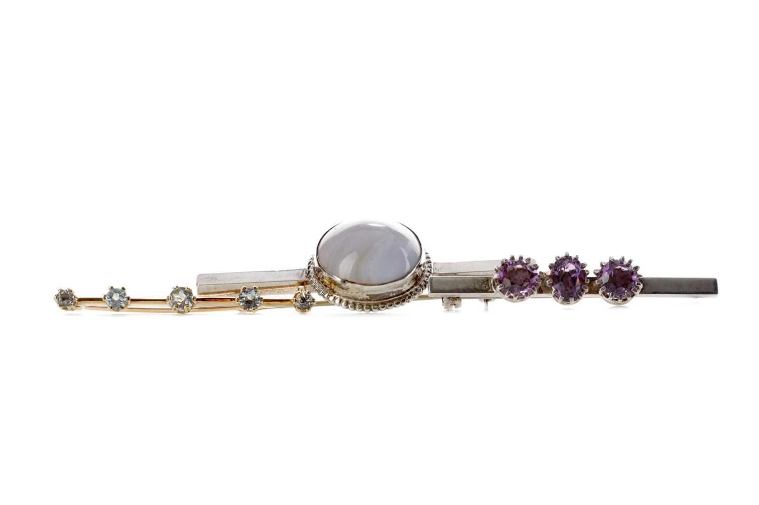 Lot 373 - THREE BAR BROOCHES AND TWO GEM SET RINGS